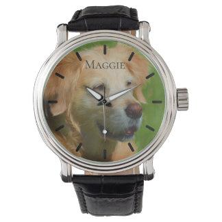 Reloj Personalizado hermoso del golden retriever