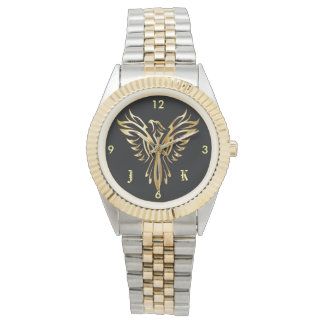 Reloj Phoenix de oro llameante que sube con iniciales
