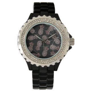 Reloj piña color de rosa de mármol negra moderna