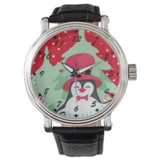 Reloj Pingüino festivo con el trineo - rojo