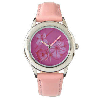 Reloj pintado rosa de las flores