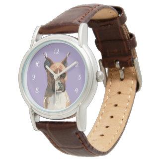 Reloj Pintura de la acuarela del perro del boxeador