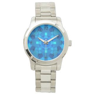 Reloj psicodélico del mosaico de neón azul