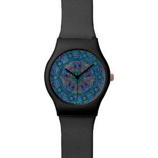 Reloj púrpura azul de la mandala del trullo
