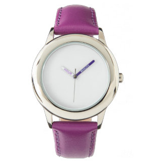 Reloj púrpura de la correa de cuero del acero
