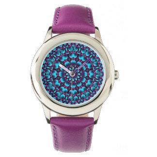 Reloj púrpura de los niños del vintage del gaitero