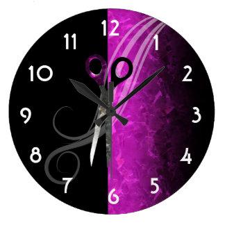 Reloj púrpura de moda del salón de pelo