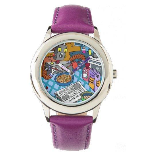 Reloj púrpura del acero inoxidable