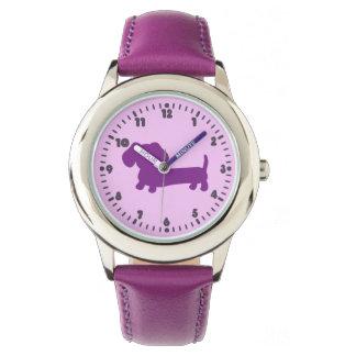 Reloj púrpura del tiempo de aprendizaje del