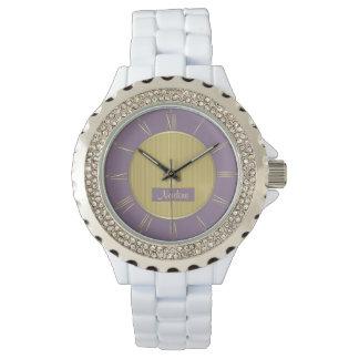 Reloj Púrpura pálida y oro