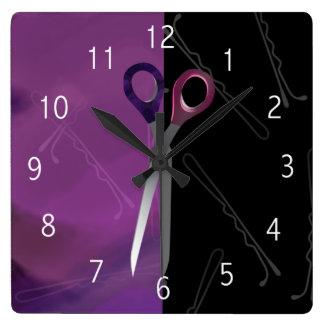 Reloj púrpura/rosado elegante del salón de pelo