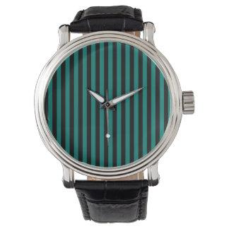 Reloj Rayas finas - negro y verde del pino