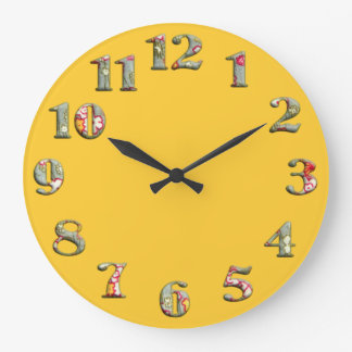 Reloj redondo amarillo brillante con los números l