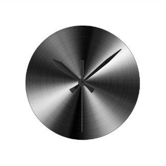 Reloj redondo de encargo de la mirada del acero in
