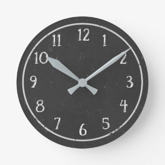 Reloj redondo de la falsa pizarra rústica moderna