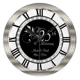 Reloj Redondo Grande 25to aniversario de plata hermoso del diamante