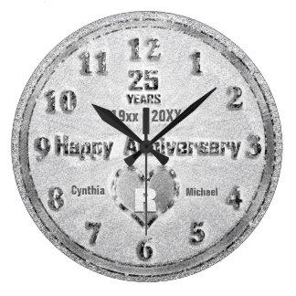 Reloj Redondo Grande 25to Fiesta del brillo del aniversario de bodas de