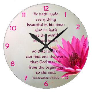 Reloj Redondo Grande 3:11 de Ecclesiastes todo hermoso en su tiempo