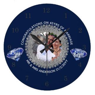 Reloj Redondo Grande 45.o Aniversario de boda - AÑADA el azul del