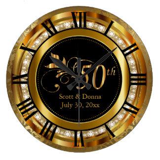 Reloj Redondo Grande 50.o aniversario de boda de oro elegante