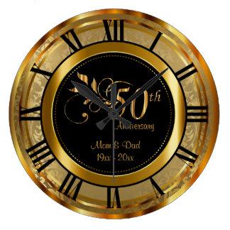 Reloj Redondo Grande 50.o aniversario de oro elegante
