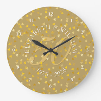 Reloj Redondo Grande 50.o Confeti de los corazones del oro del