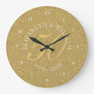 Reloj Redondo Grande 50.o Confeti del polvo de oro del aniversario de