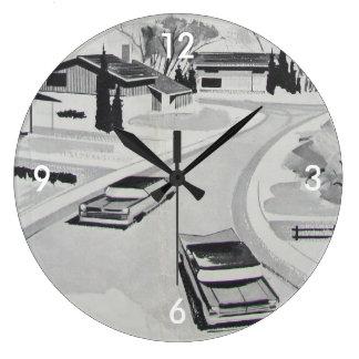 Reloj Redondo Grande 60s Retro-licious BW moderno