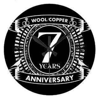 Reloj Redondo Grande 7mo cobre de las lanas del aniversario de boda