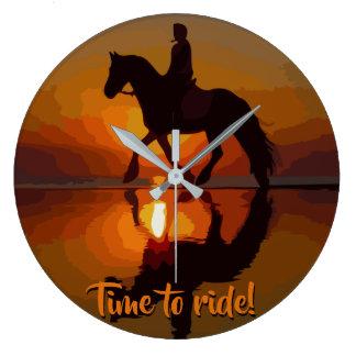 Reloj Redondo Grande A caballo regalo de Riding.Personalized para el