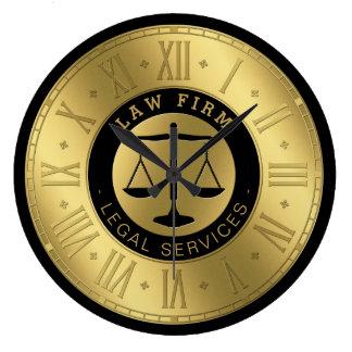 Reloj Redondo Grande Abogado en las escalas de oro de la ley el | de la