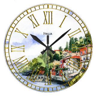 Reloj Redondo Grande Acuarela italiana de la costa su texto