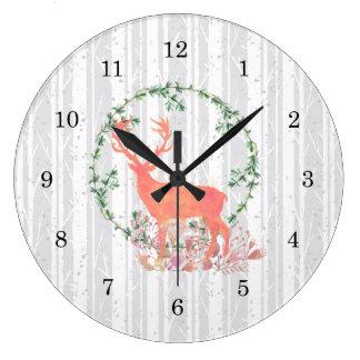 Reloj Redondo Grande Acuarela rústica de Boho del reno
