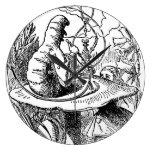 Reloj Redondo Grande Alicia vintada en la oruga de Hookah del país de l