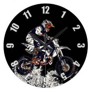 Reloj Redondo Grande Alto corredor de la Suciedad-Bici del motocrós que