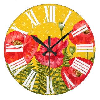 Reloj Redondo Grande Amarillo de oro con los números romanos de las