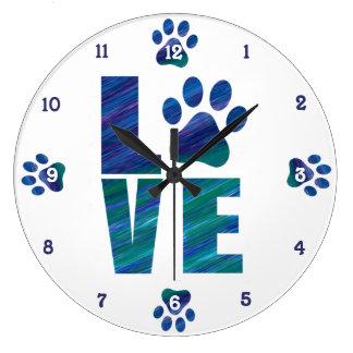 Reloj Redondo Grande Amo a mi mascota - arte moderno