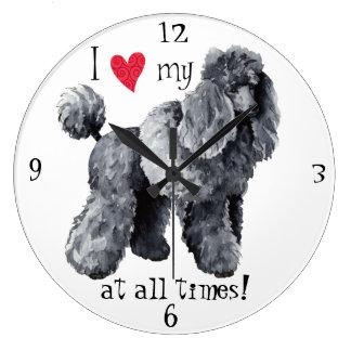 Reloj Redondo Grande Amo mi caniche miniatura