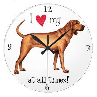 Reloj Redondo Grande Amo mi Coonhound de Redbone