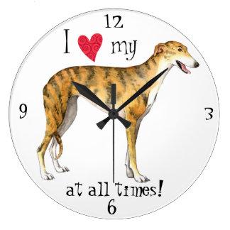 Reloj Redondo Grande Amo mi galgo