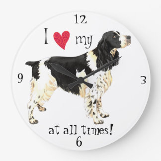 Reloj Redondo Grande Amo mi perro de aguas de saltador inglés