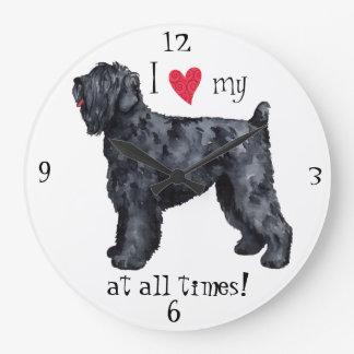 Reloj Redondo Grande Amo mi ruso negro Terrier