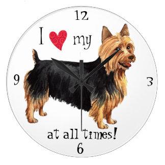 Reloj Redondo Grande Amo mi Terrier australiano