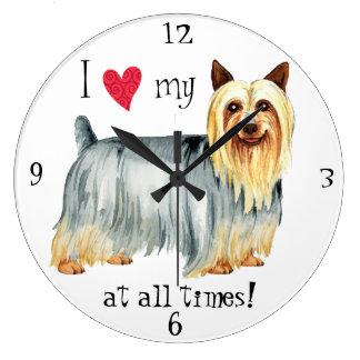 Reloj Redondo Grande Amo mi Terrier sedoso