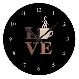 Reloj Redondo Grande Amor del café en negro