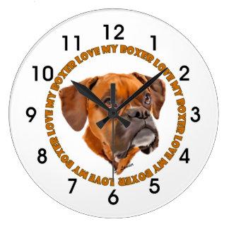 Reloj Redondo Grande Amor del perro del boxeador mi boxeador