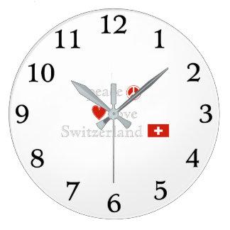 Reloj Redondo Grande Amor y Suiza de la paz