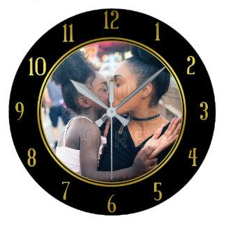 Reloj Redondo Grande Añada su negro personalizado del oro de la foto el