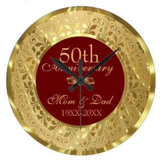 Reloj Redondo Grande Aniversario de boda chispeante del damasco 50.o
