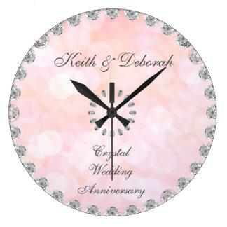 Reloj Redondo Grande Aniversario de boda cristalino adaptable